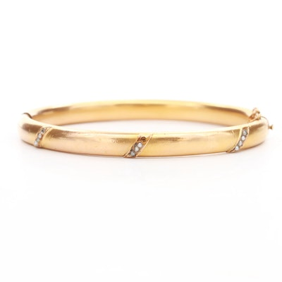 Antique Hinged Cultured Pearl Bangle Bracelet