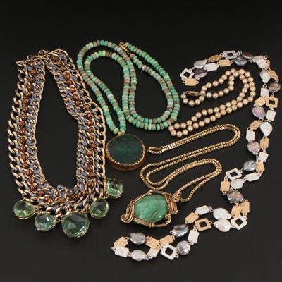 Vintage Roman Glass, Gaspetite, and Cultured Pearl Link and Beaded Necklaces