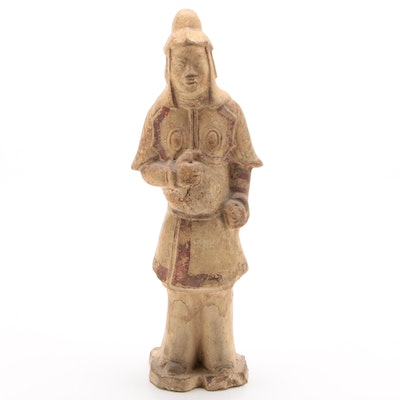Chinese Polychrome Pottery Soldier Figure, Five Dynasties Period