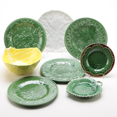 Portuguese Majolica Leaf Forms Plates and Bowl
