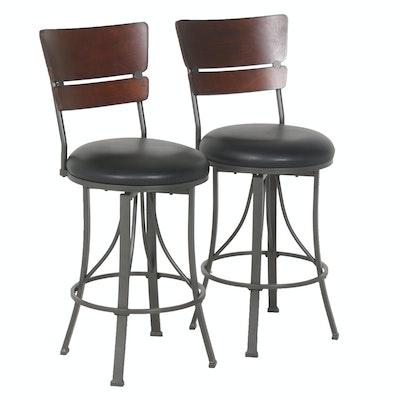 Contemporary Metal Frame Barstools by Hillsdale Furniture, Pair