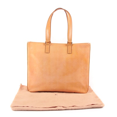 Louis Vuitton Paris Columbus Tote in Beige Vernis Monogram and Vachetta Leather