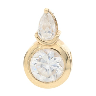 14K Yellow Gold Cubic Zirconia Slide Pendant