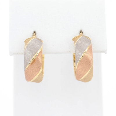 14K Yellow Gold Hoop Earrings with White and Rose Gold Accents