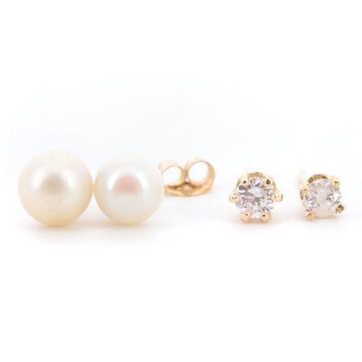 14K Yellow Gold Diamond and Cultured Pearl Stud Earrings