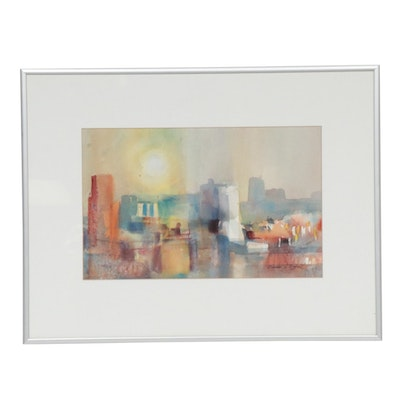 "Donald L. Dodrill Watercolor Painting ""Sun City"""