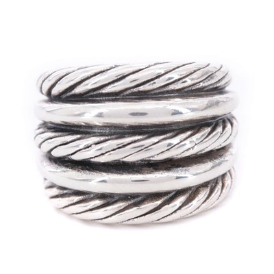 Sterling Silver Ring with Cable Motif