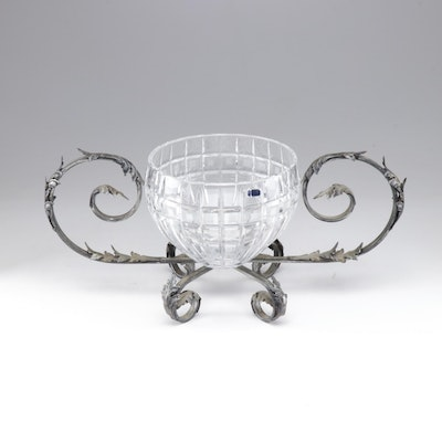 Marquis by Waterford Crystal bowl on ornate Metal Base