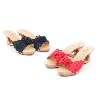 Betsey Johnson New York Crochet and Carved Wooden Platform Mules