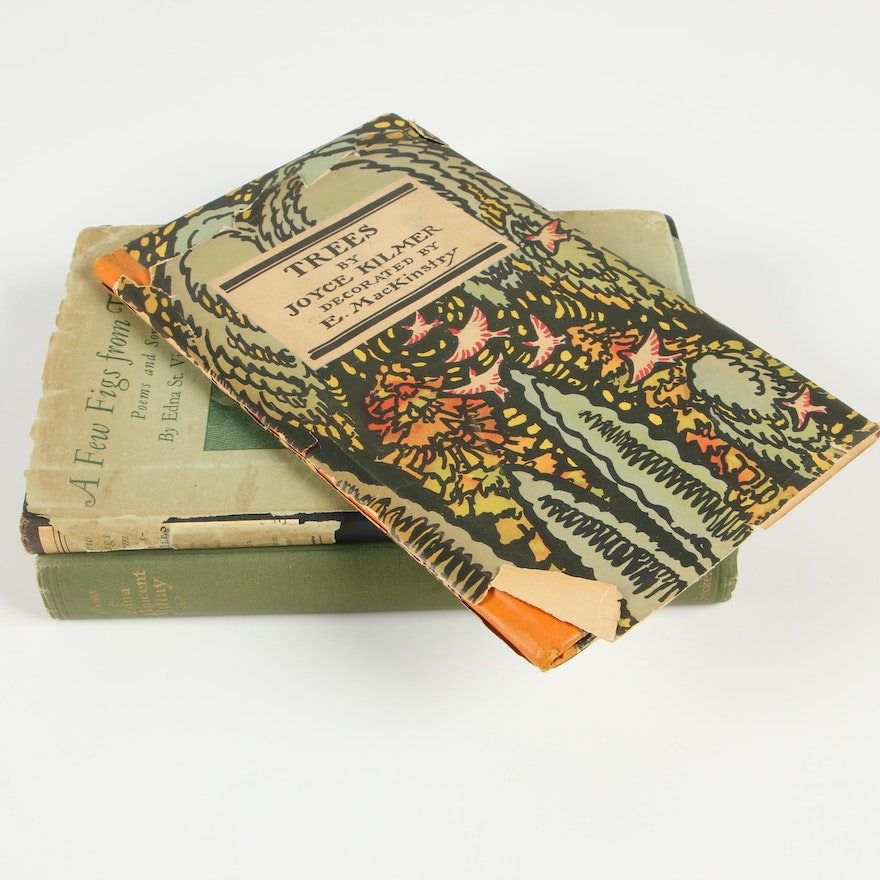 Poetry Books by Edna St. Vincent Millay and Joyce Kilmer
