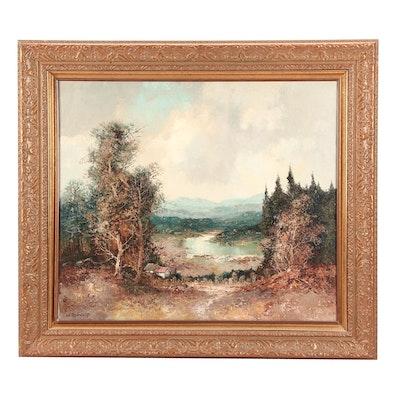 Willi Bauer Impasto Style Vast Landscape Oil Painting