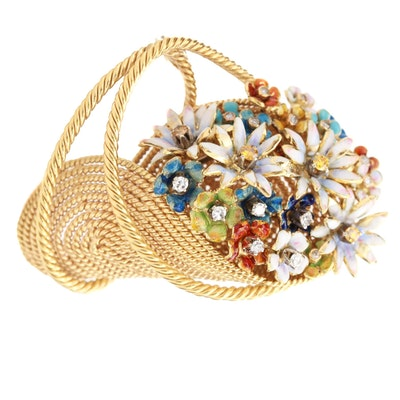 Vintage Carlo Barberis 18K Yellow Gold Diamond and Enamel Flower Basket Brooch