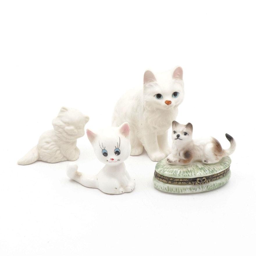 Ceramic White Cat Figurines and Trinket Box