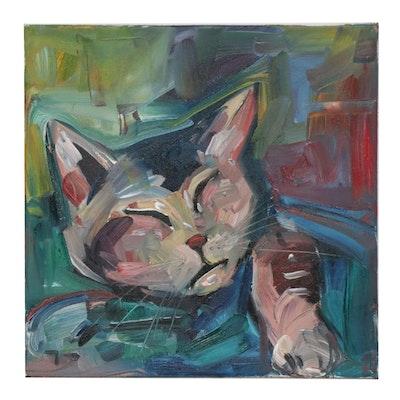 """Jose Trujillo Oil Painting """"Sleepy Kitty"""""""