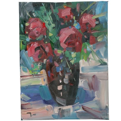 "Jose Trujillo Oil Painting ""Red Roses"""