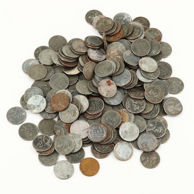 200 WWII 1943 Lincoln Wheat Steel Cents