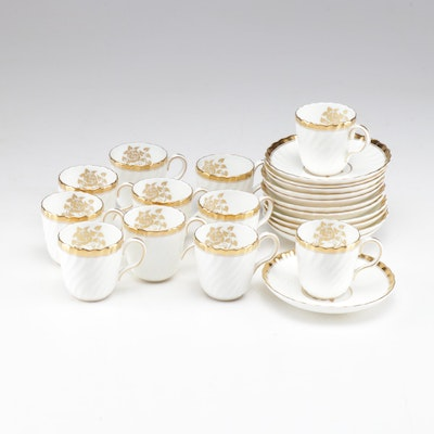 "Mintons ""Gold Rose"" Porcelain Demitasse Cups and Saucers"