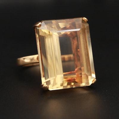 14K Yellow Gold 18.36 CT Citrine Ring