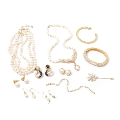 Gold Tone and Imitation Pearl Jewelry Featuring Swarovski and Trifari