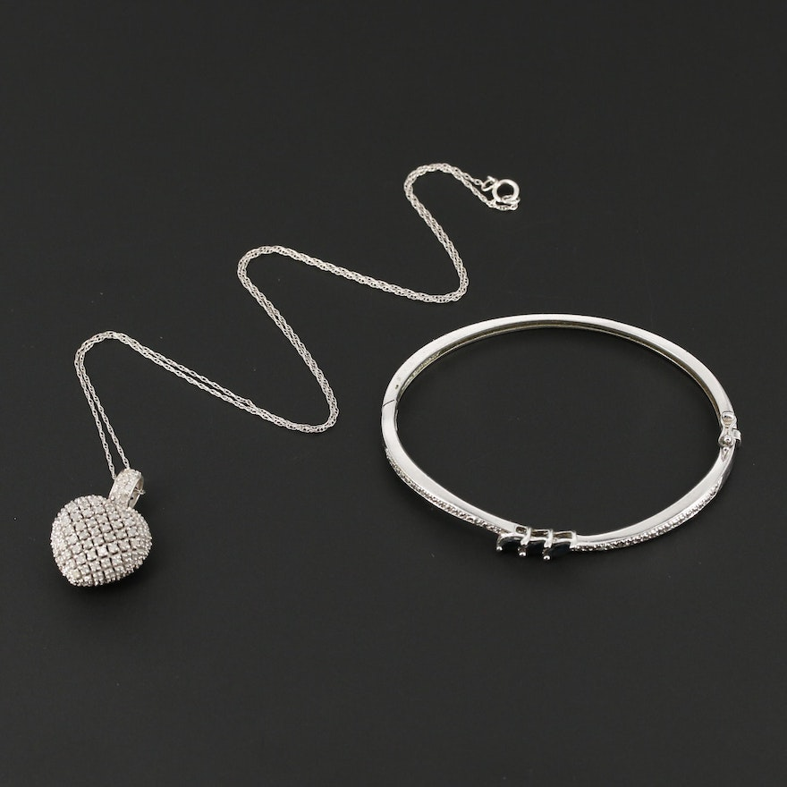 "Sterling Silver Sapphire Bangle and ""Black and White"" Diamond Heart Necklace"