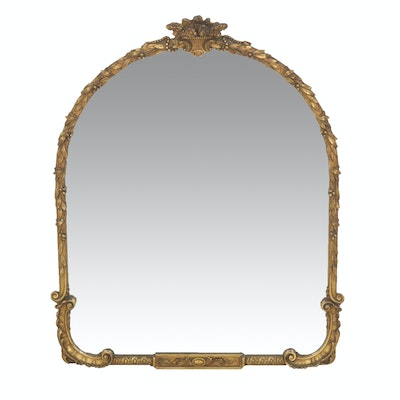 Gesso Framed Gilt Finished Wall Mirror, Antique