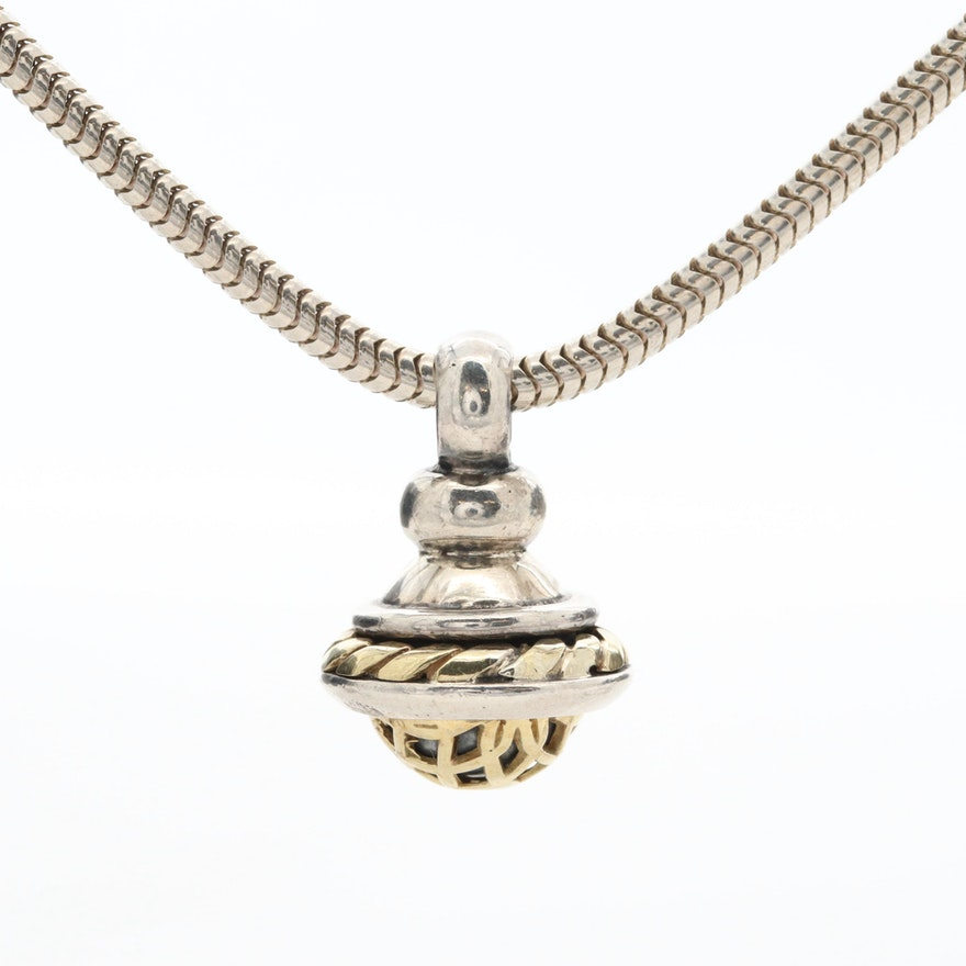 David Wysor Sterling Silver Necklace with 18K Yellow Gold Accents