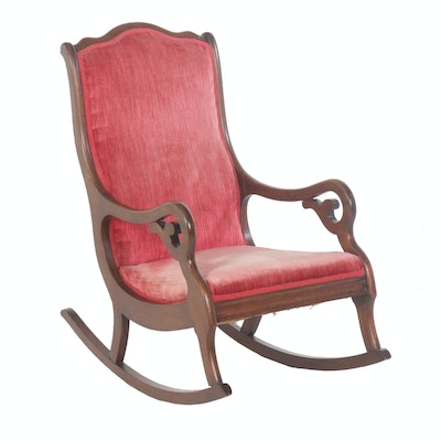 American Victorian Walnut Rocking Chair, Late 19th/Early 20th Century