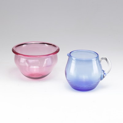 Hand Blown Signed Pink Bowl and Ribbed Pitcher