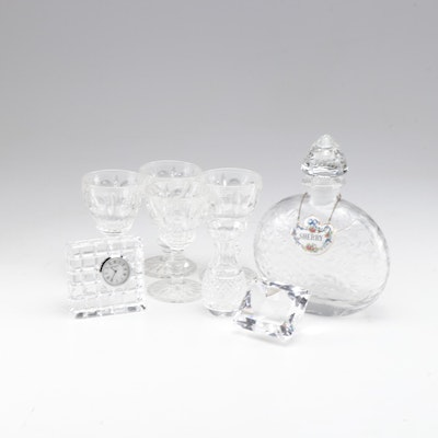 Waterford Crystal Desk Clock, Etched Decanter, Paperweight and Cordial Glasses