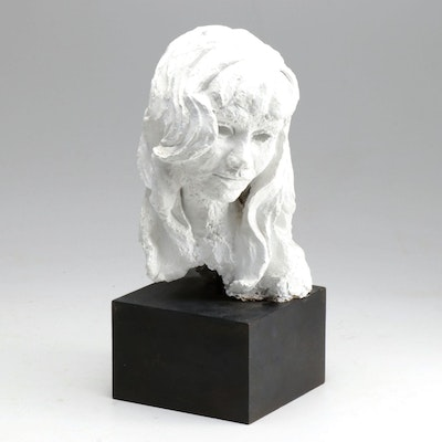Dorothy Lutsch Plaster Female Bust Sculpture