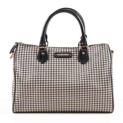 Ralph Lauren Black Label Houndstooth Canvas Boston Bag