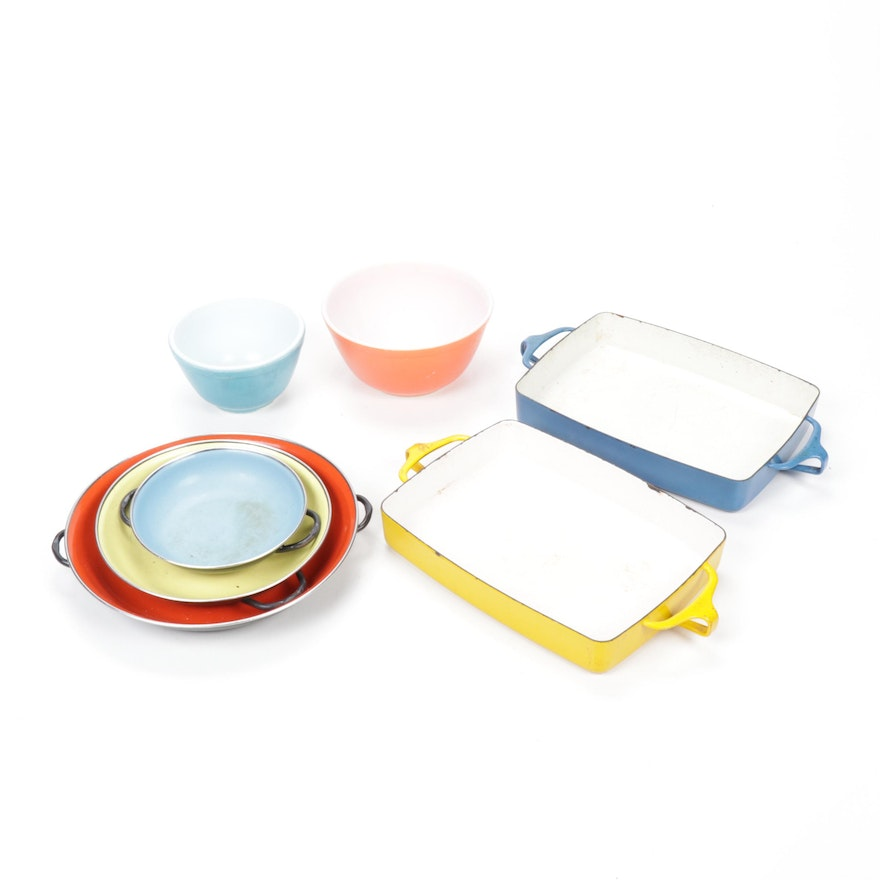 Dansk Kobenstyle Casserole Dishes, Pyrex Bowls and Other Cookware, Mid-Century