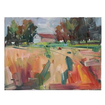 """Jose Trujillo Oil Painting """"The Family Farm"""""""