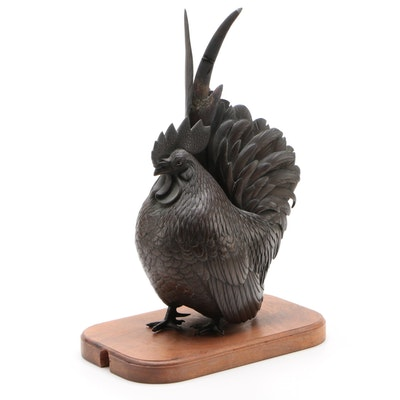 Bronze Finish Rooster Statuette