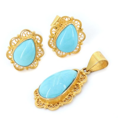 18K Yellow Gold Turquoise Pendant and Earring Set