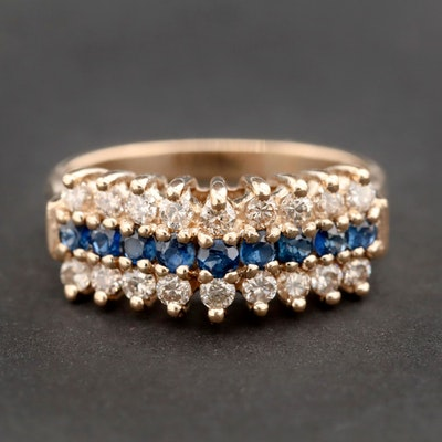 14K Yellow Gold Blue Sapphire and Diamond Triple Row Ring