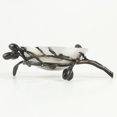 Michael Aram Stainless Steel and Oxidizes Brass Olive Branch Nut Dish