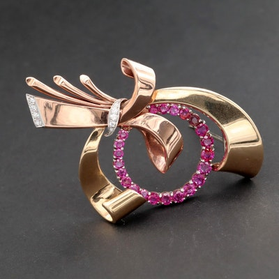 Retro 14K Yellow and Rose Gold Ruby ad Diamond Brooch With Platinum Accent