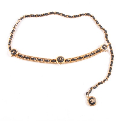 Chanel Season 23 Black Leather Gold Tone Chain Belt with CC Logo Accents, 1984