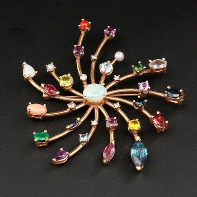 14K Yellow Gold Diamond and Gemstone Starburst Brooch