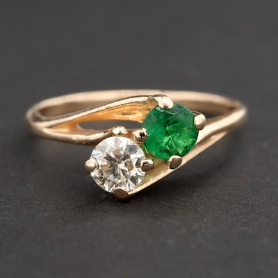 14K Yellow Gold Diamond and Emerald Bypass Ring