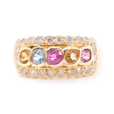 14K Yellow Gold Ruby, Citrine, Aquamarine, Tourmaline and Diamond Ring
