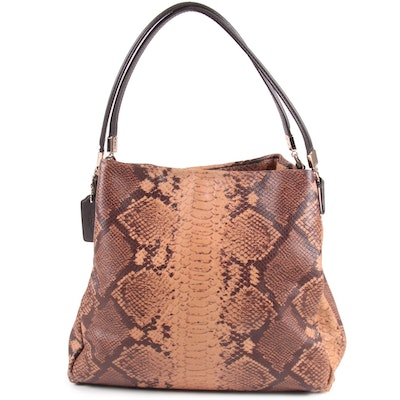 Coach New York Phoebe Python Embossed Leather Shoulder Bag