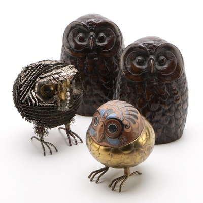 Bronze Clad Owl Bookends with Mexican Folk Art Metal and Ceramic Owl Figurines