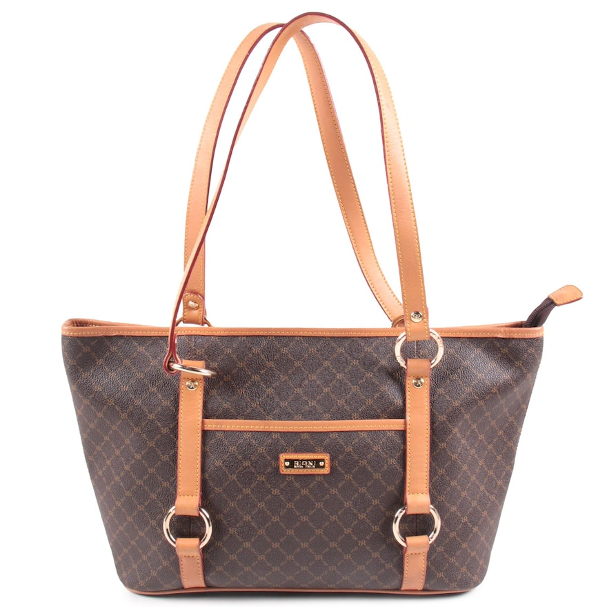 Rioni Moda Italia Georgina Shoulder Tote in RR Rioni Monogram Canvas and Leather