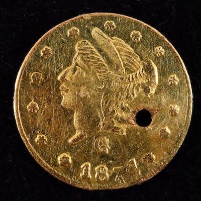 1871 California 1/4 Dollar Gold Coin