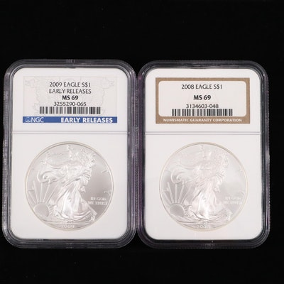 2008 and 2009 NGC Graded $1 U.S. Silver Eagles