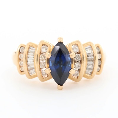14K Yellow Gold 1.31 CT Sapphire and Diamond Ring