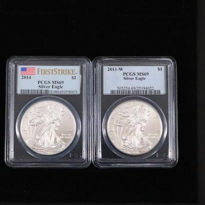 2011-W and 2014 PCGS Graded $1 U.S. Silver Eagles