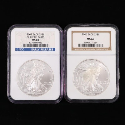 2006 and 2007 NGC Graded $1 U.S. Silver Eagles